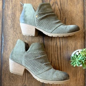 Earth Origins Suede Leather Booties Ruched